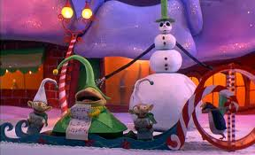 While Halloween Town is presented in mostly black and white, Christmas Town is the exact opposite.