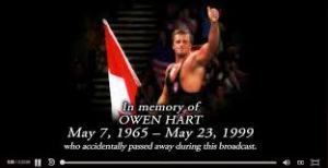 The brief Owen Hart tribute that appears before Over the Edge '99.