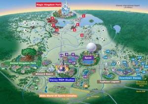 A map of Disney World, Disneyland is said to be able to fit in the Magic Kingdom's parking lot.