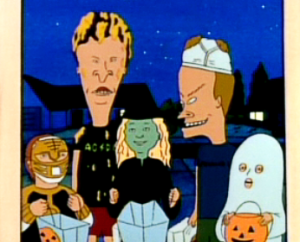 Beavis and Butt-Head on a quest for candy.