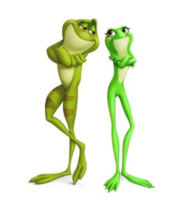 For the frog versions of the two leads, Disney wanted their look to draw from the example set by Jiminy Cricket: make the characters pleasing to look at as opposed to realistic.