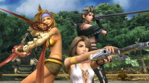 The main cast (left to right): Rikku, Yuna, Paine.