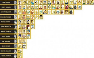 A neat graphic of the principal voice talent and the recurring characters they voice.