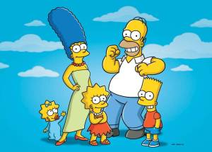 The first family of animation: Maggie, Marge, Lisa, Homer, and Bart.