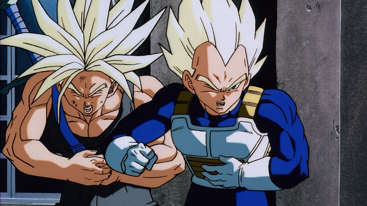 Vegeta elbows Trunks