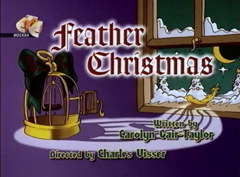 feather christmas title card