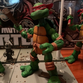 "I kind of like this ""chucking"" pose for Donnie and his bo. His headsculpt also might be my favorite of the four, it just feels very ""Donatello"" even if I'm mostly projecting the cartoon persona onto this one."